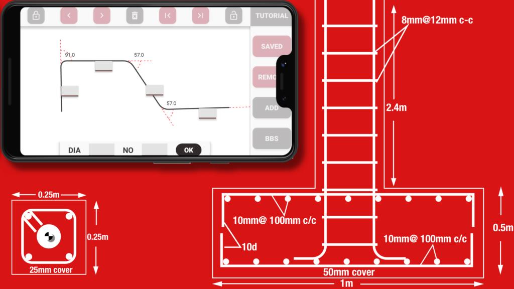 Draw 12mm rebar in Easy Bar Bending Schedule app red